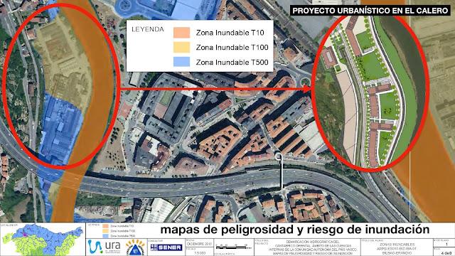 Mapa de inundabilidad de la zona de El Calero