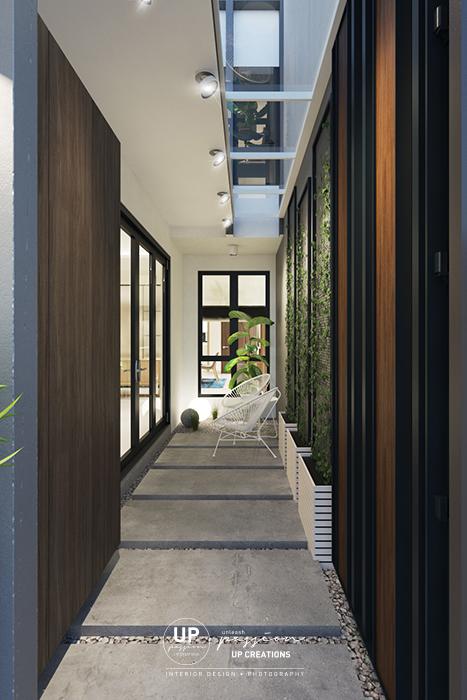 kalista superlink foyer entrance corridor with concrete step, pebble stones, metal wire mesh for planter, steel door with outdoor wood panel