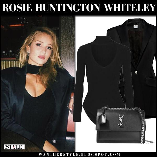 Rosie Huntington-Whiteley in black jacket magda butrym, black bodysuit cushnie et ochs street fashion november 1 2017