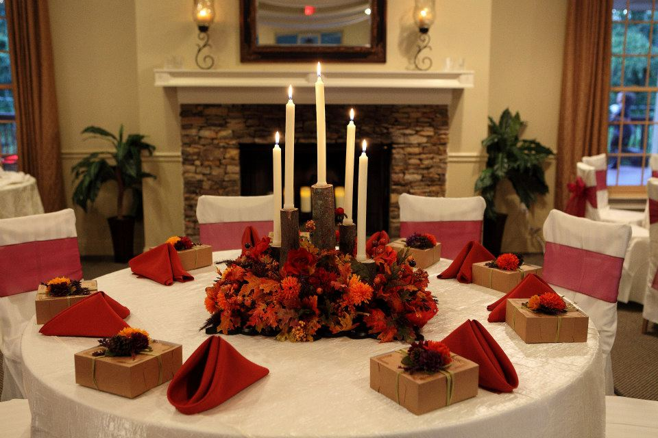 Fall Wedding Table Centerpieces: Vecoma At The Yellow River: Fall Wedding Decorations