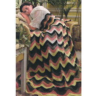 Vintage Rippled Afghan Knitting Pattern