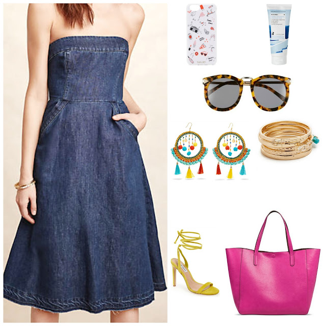 Denim dress with colorful accessories
