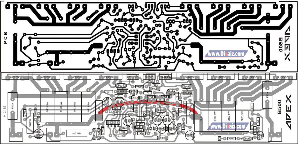 PCB Rangkaian Power Amplifier 500 Watt APEX - www.divaizz.com
