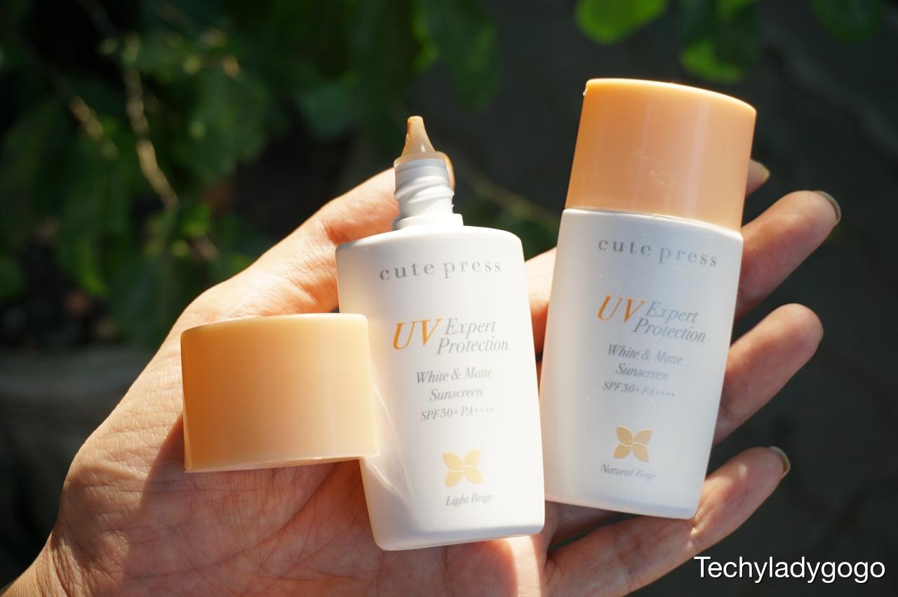 Cute Press UV Expert Protection White & Matte Sunscreen SPF50+ PA++++  (คิวท์เพรส ยูวี เอ็กซ์เพิร์ท โพรเทคชั่น ไวท์ แอนด์ แมท ซันสกรีน เอสพีเอฟ 50+ พีเอ++++)  รีวิวกันแดดคิวท์เพรส เนื้อรองพื้น