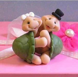 sweet turtles wedding cake topper