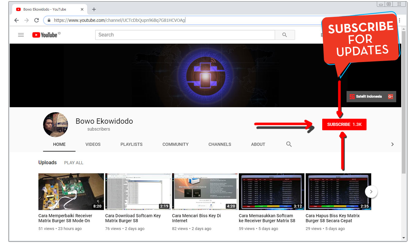 Subscrib Channel Youtube Satelit Indonesia