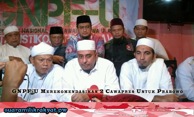 GNPF-U Merekomendasikan 2 Cawapres Untuk Prabowo