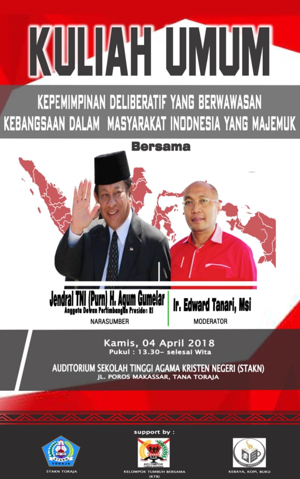 Bersama Edward, Jenderal Agum Gumelar Bedah Buku di STAKN Toraja