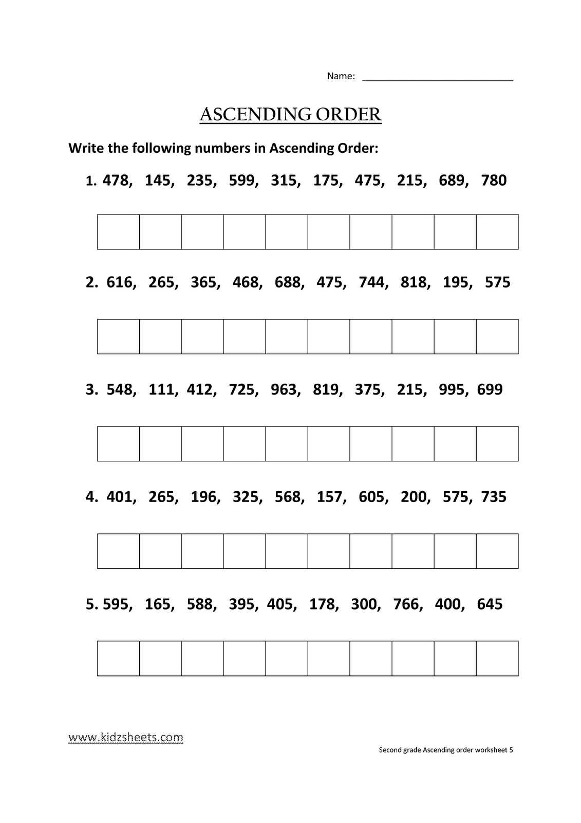 Kidz Worksheets Second Grade Ascending Order Worksheet5