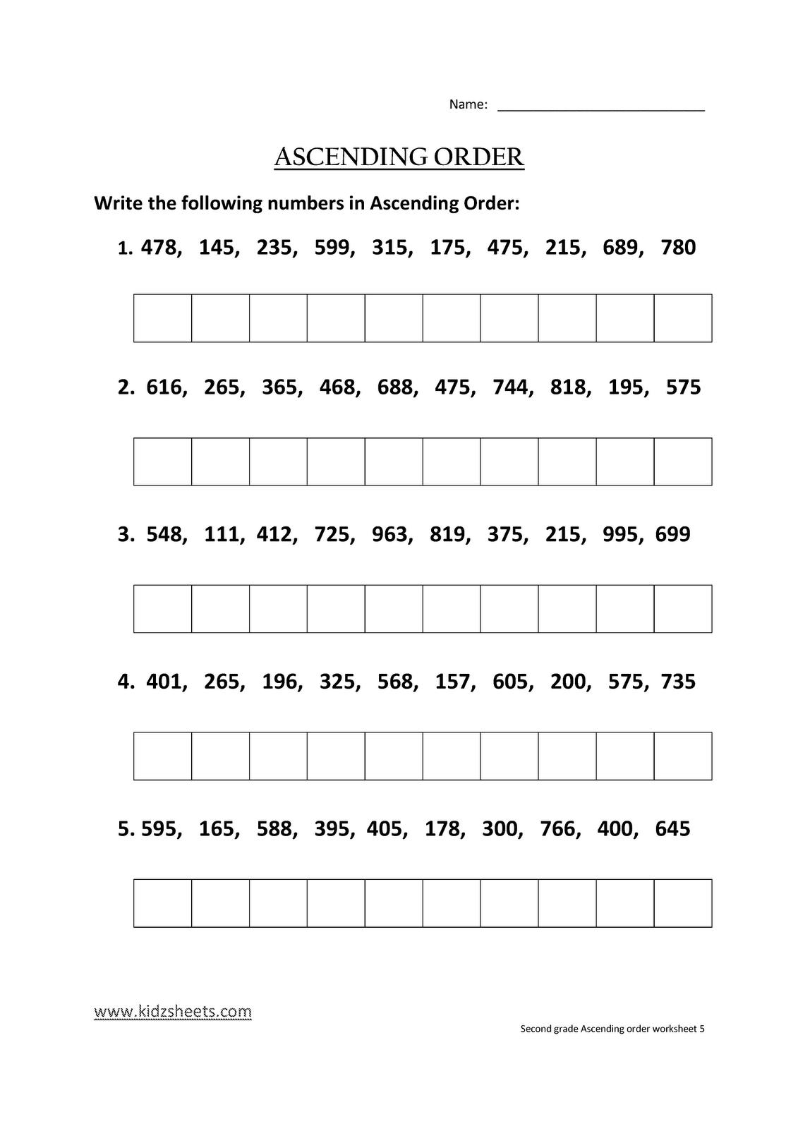 Kidz Worksheets Second Grade Ascending Order Worksheet5