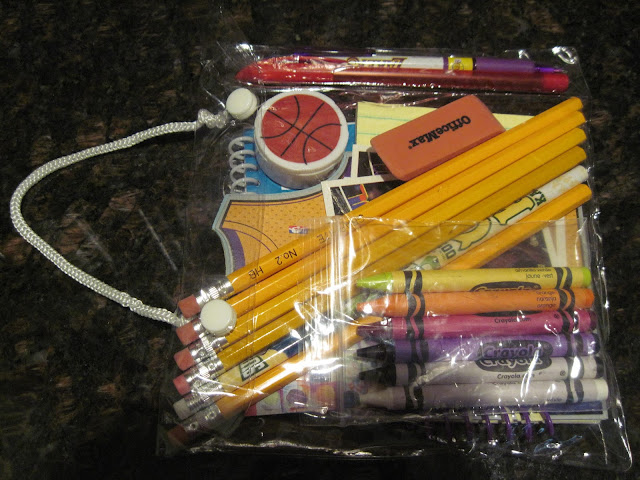 School supply pencil packet for Operation Christmas Child filler donation.
