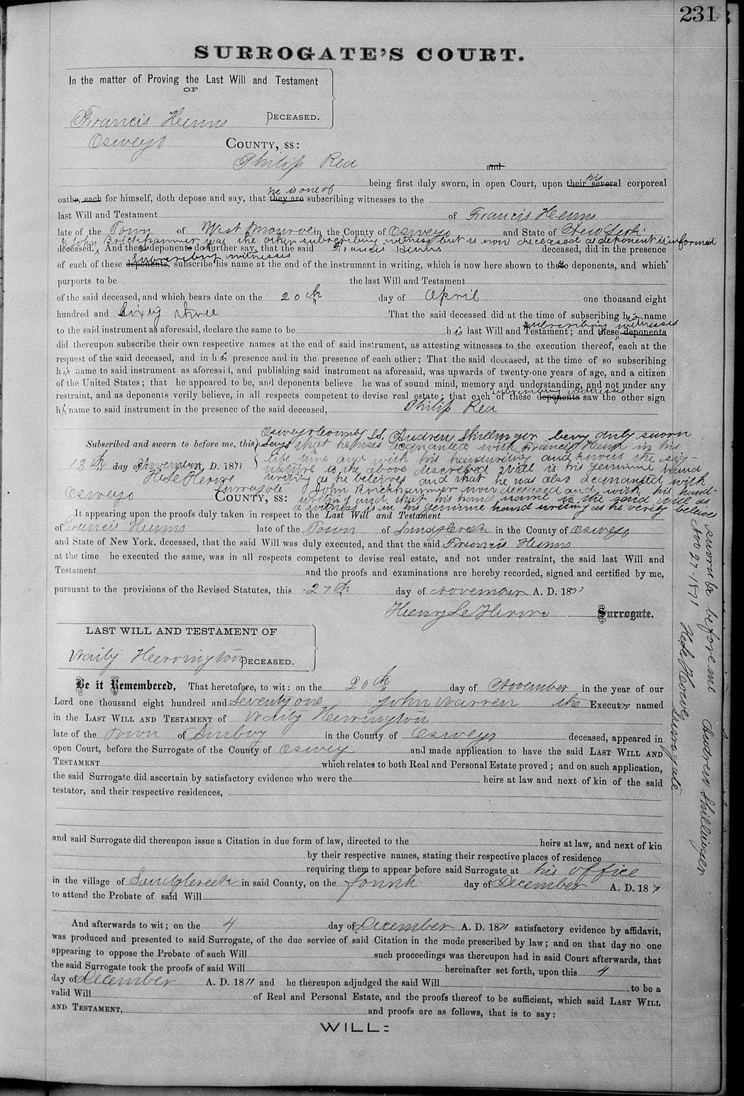 Climbing My Family Tree: Witness Attestations proving the Will of Francis Henn