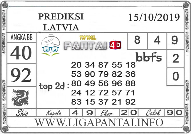 """PREDIKSI TOGEL """"LATVIA"""" PANTAI4D 15 OKTOBER 2019"""