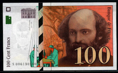 currency of france before the euro 100 french francs banknote 1997 paul cezanne world banknotes. Black Bedroom Furniture Sets. Home Design Ideas