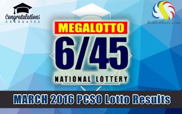 Image: March 2016 PCSO Megalotto 6/45