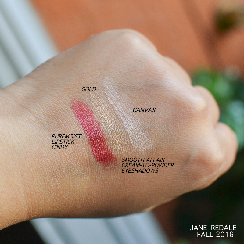 Jane Iredale Fall Makeup 2016 - Swatches - Puremoist Lipstick Cindy - Smooth Affair eyeshadows - Gold - Canvas
