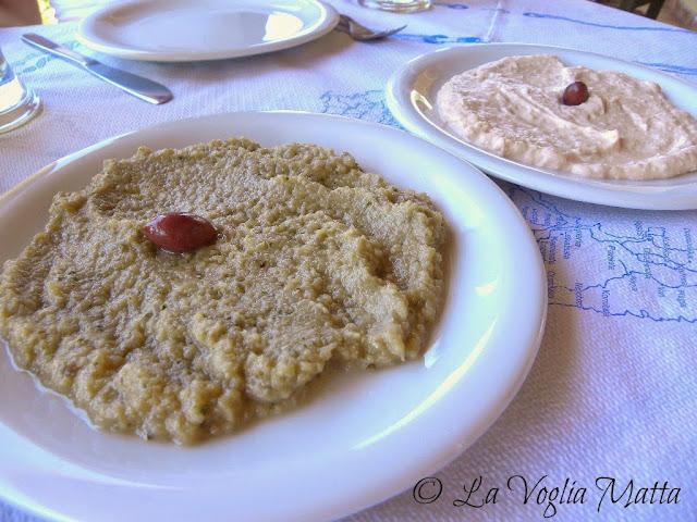 Taverna Veggera a Vasilikades melizanosalata e taramasalata con pita