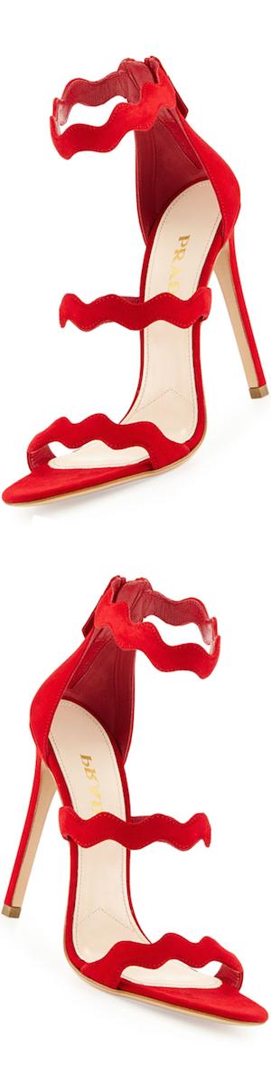 Prada Suede Triple-Strap Wavy Sandal, Rosso