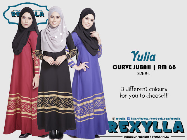 rexylla, gold curve, curve jubah, yulia collection