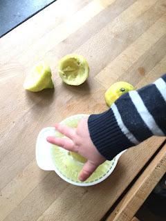 Das Kind darf die Zitronen auspressen