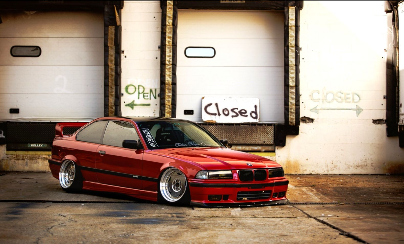 Bmw E36 Red Tuning Car Hd Wallpaper Eazy Wallpapers