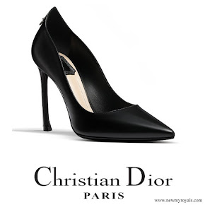 Queen Rania wore DIOR black calfskin leather pumps