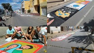 Tradicionais tapetes enfeitam ruas no feriado de Corpus Christi em Cuité e Nova Floresta