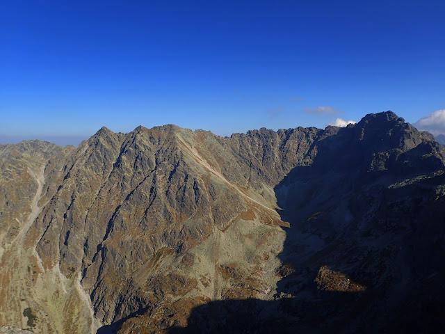 Granaty i inne szczyty Orlej Perci widziane z Kościelca