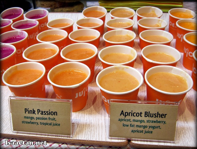 Pink Passion and Apricot Blusher Juices
