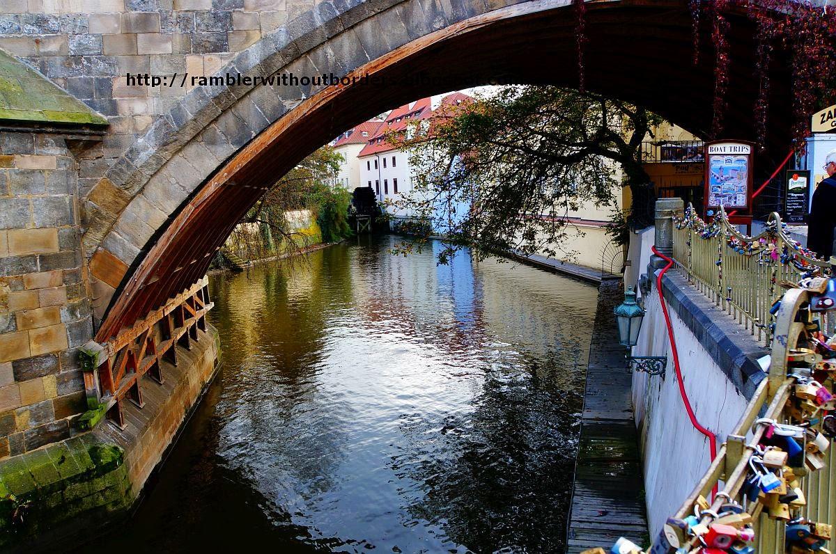 Čertovka underneath Charles Bridge, Prague