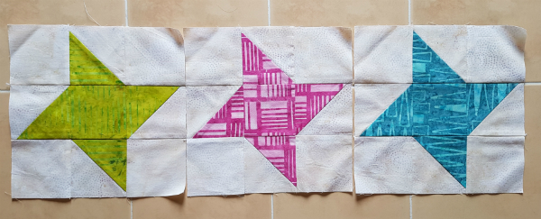 Batik friendship star blocks | DevotedQuilter.blogspot.com