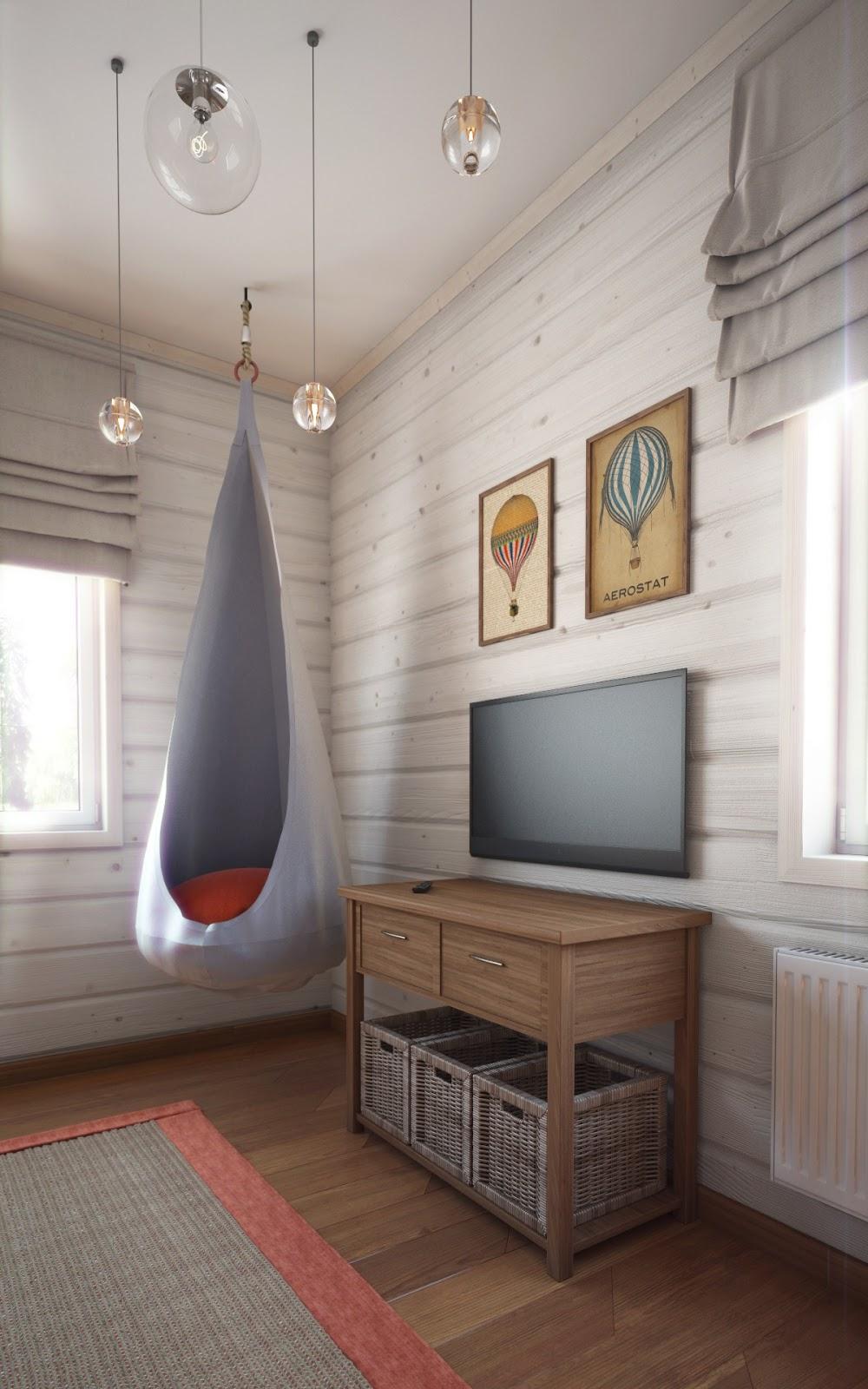 Dormitorio infantil con globo aerost tico - Sillas colgantes del techo ...