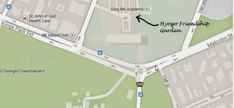 Location of Hyogo Friendship Garden, Perth, WA, Australia