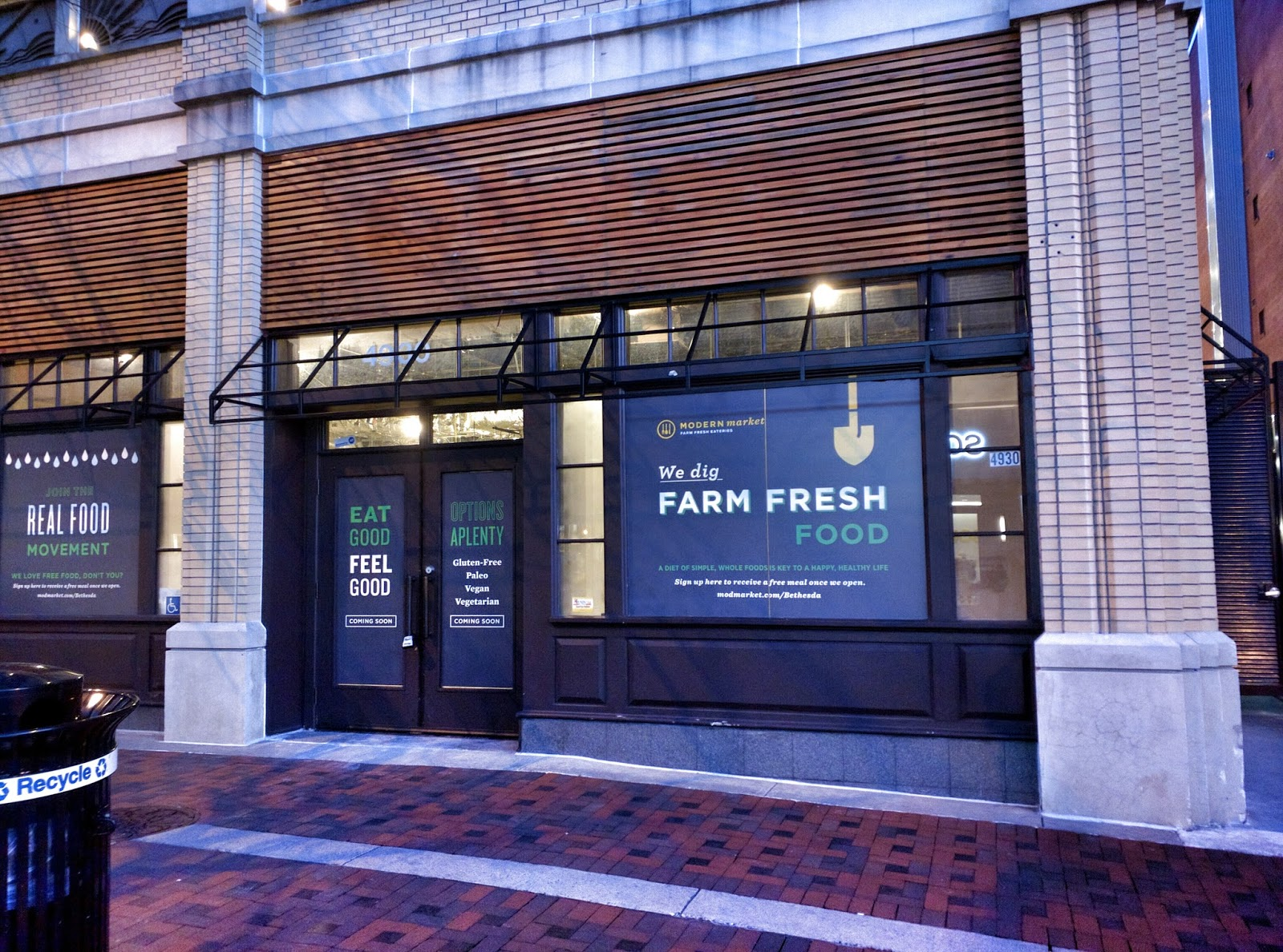 Modern Market Has Posted Some Coming Soon Window Screens At Their Future Elm Street Location One Says You Can Get A Free Meal When They Open If Sign Up