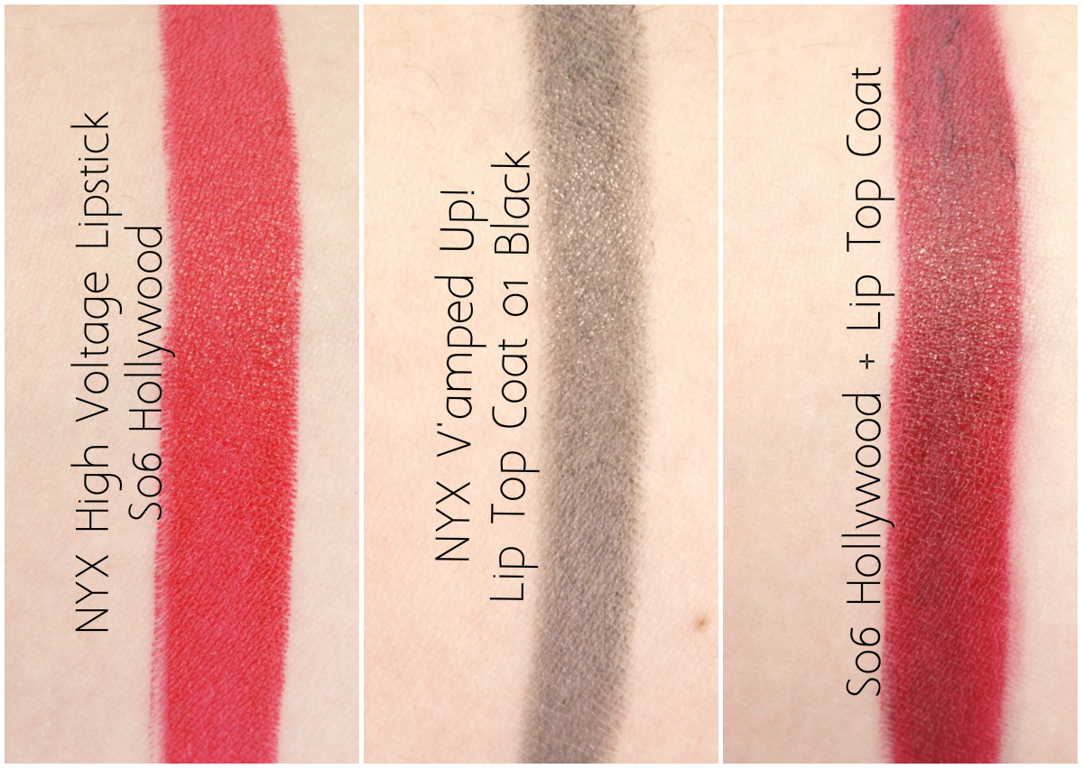 "NYX High Voltage Lipstick in ""06 Hollywood"" & V'amped Up! Lip Top Coat: Review and Swatches"