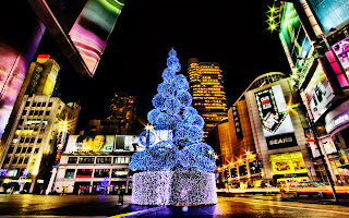 Awesome Christmas Tree City Lights HD Wallpaper