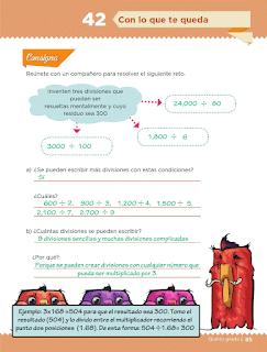 Respuestas Apoyo Primaria Desafíos Matemáticos 5to. Grado Bloque III Lección 42 Con lo que te queda
