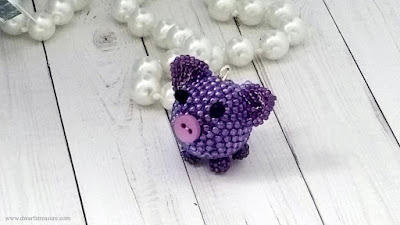 purple origami paper crane and real amethyst beads