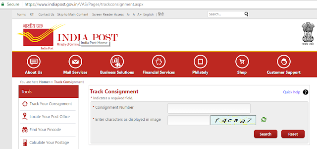 Speed Post Tracking Passport Delivery Status