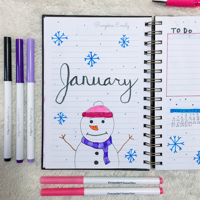 January 2019 Bullet Journal Cover Page