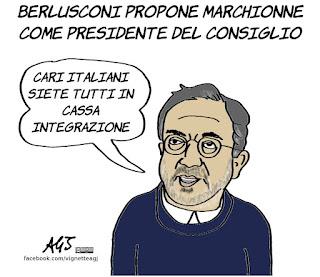 Marchionne, berlusconi, presidente del consiglio, politica, vignetta, satira