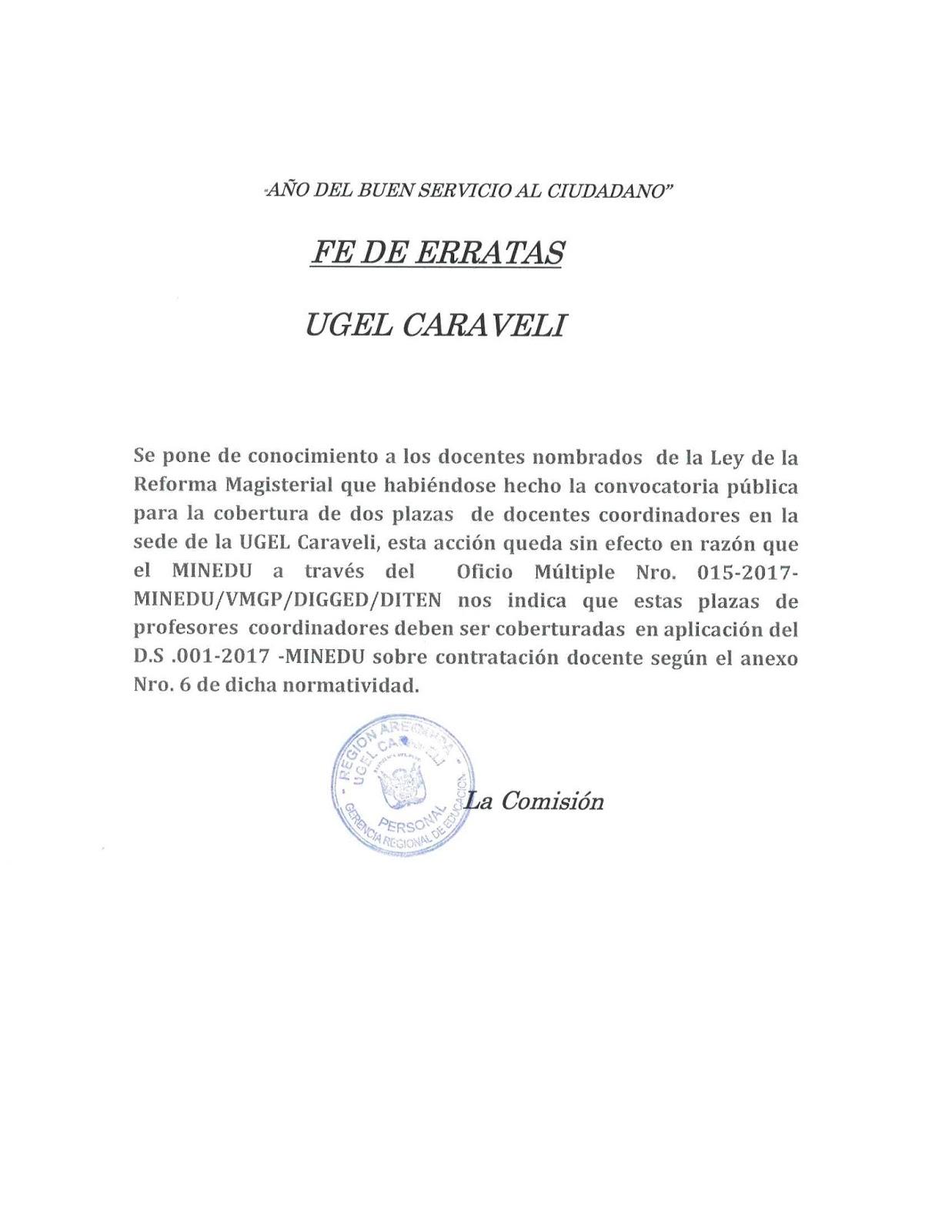 Fe de erratas sobre convocatoria publica ugel caravel for Convocatoria de plazas docentes 2017