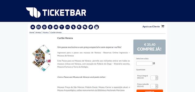 Ticketbar para ingressos para o Cartão Veneza