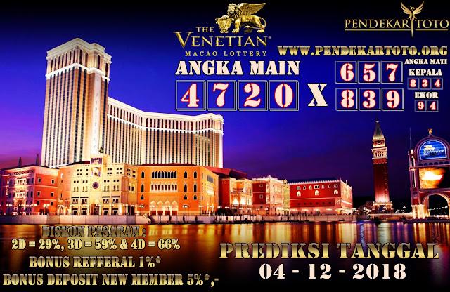 Prediksi Venetian Macao Lottery Tanggal 04 Desember 2018