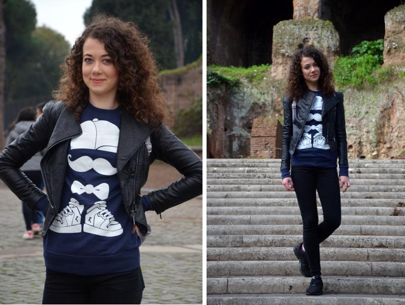 ramoneska, zabawna bluza, luźna stylizacja, jesień, Rzym, Forum Romanum, jak zorganizować weekend w Rzymie, weekend, kręcone włosy, bloger, buycheaplookfit