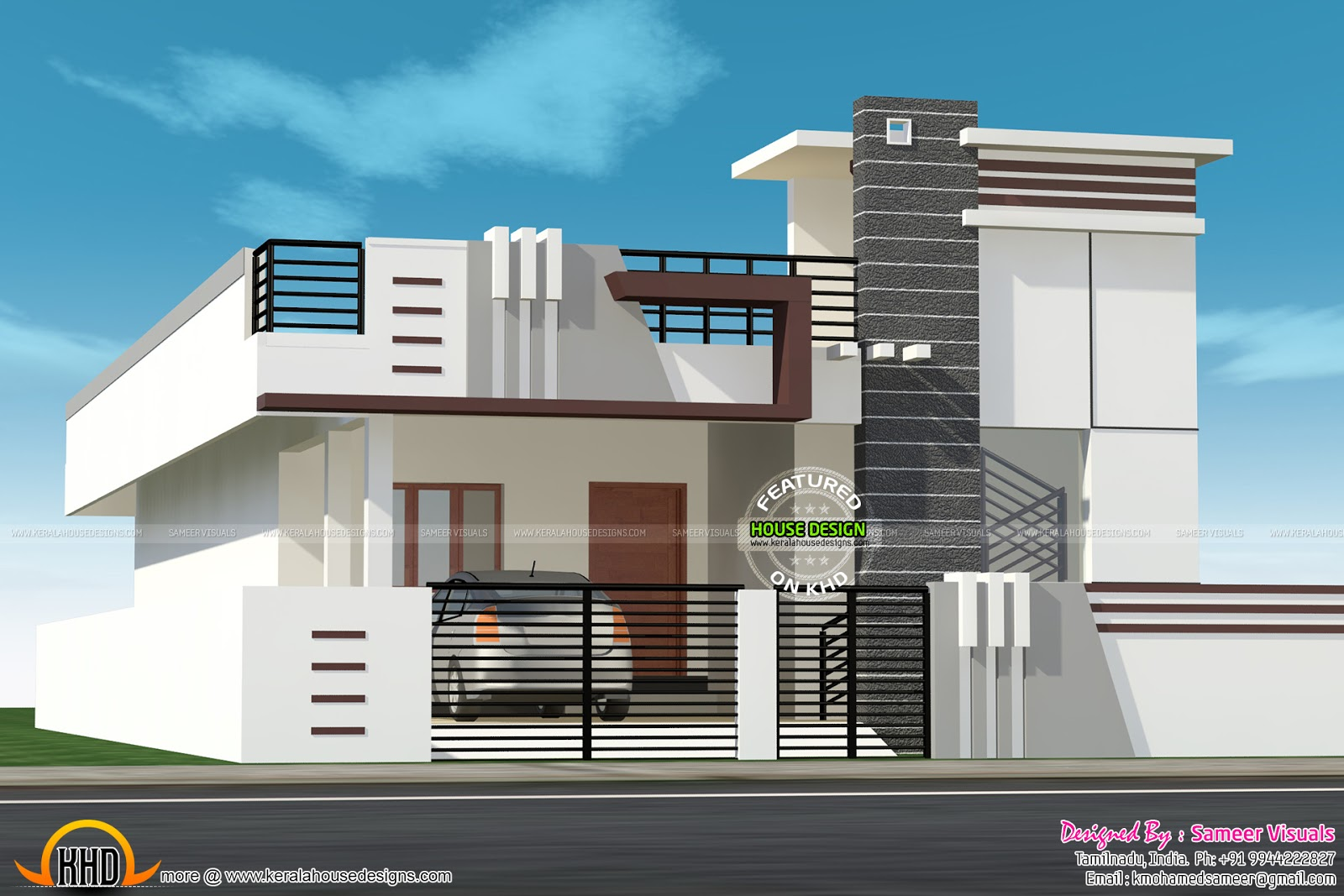 July 2015 kerala home design and floor plans for Normal home front design