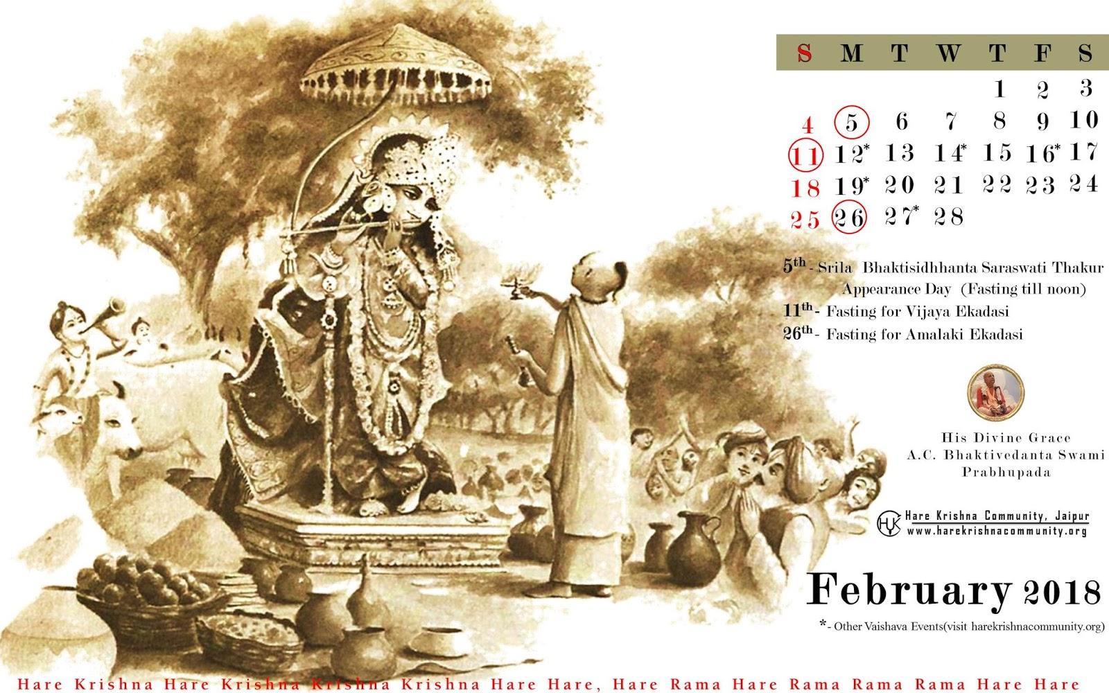 Hare Krishna Community Jaipur: Vaishnava Calendar
