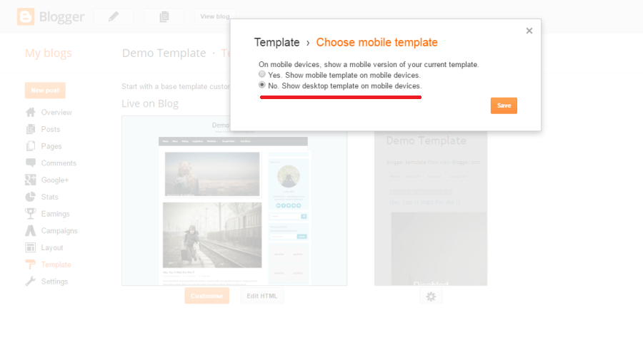 setting mobile template for blogger blog