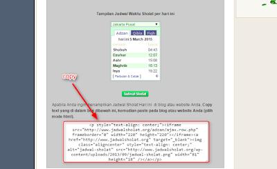 Cara memasang widget jadwal sholat di blogger.com (2)