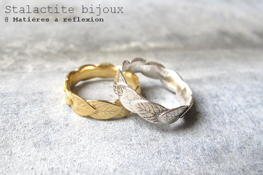 Bague feuille folk bijoux stalastite paris made in france argent plaqué or
